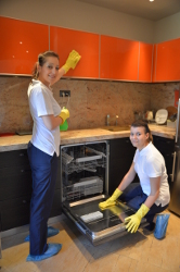 A London's Deep Cleaning Team cleaning in the kitchen of a property