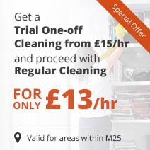 Get a Trial One-off Cleaning from £15/hr & Proceed with £13/hr Regular Cleaning