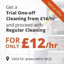 Get a Trial One-off Cleaning from £14/hr & Proceed with £12/hr Regular Cleaning