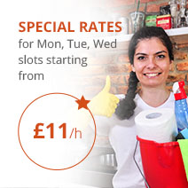 Special Rates for Mon, Tue, Wed slots starting from £11/hr for Regular Domestic Cleaning