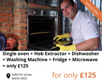 Single oven + Hob + Extractor + Dishwasher + Washing machine + Fridge + Microwave for only £125 instead of £178