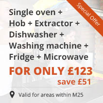 Single oven + Hob + Extractor + Dishwasher + Washing machine + Fridge + Microwave for only £123 instead of £174