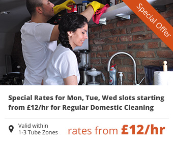 Special Rates for Mon, Tue, Wed slots starting from £12/hr for Regular Domestic Cleaning