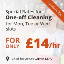 Get one-off cleaning for only £14 for Mon, Tue or Wed slots