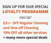 Sign up and get £3/hr discount for Regular Cleaning and One-off and 10% OFF every other service